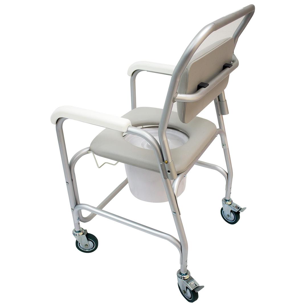 silla aluminio con ruedas para baño